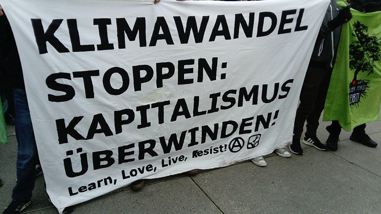 """Ein Transparent mit der Aufschrift: """"Klimawandel stoppen: Kapitalismus überwinden. Learn, Love, Live, Resist!"""