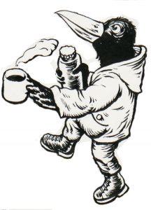 Ein aufrecht gehender Rabe mit Jacke, Hose und Stiefel trägt einen Becher Kaffee und eine Termoskanne