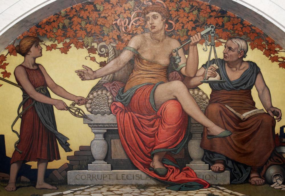 Ölgemälde: Die barbusige Justicia sitzt auf ihrem Thron. Ein Mann legt einen Beutel Geld auf ihre Waage.